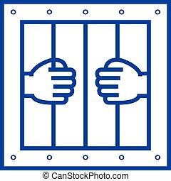 Jail line icon concept. Jail flat  vector symbol, sign, outline illustration.