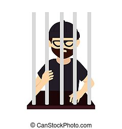jail man beard mask black vector graphic icon