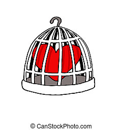 Jailed Love - Vectorel conceptual humorous cartoon about...