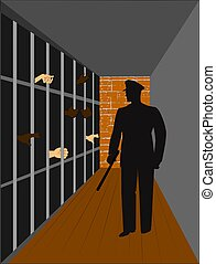 policeman in crowded jail house