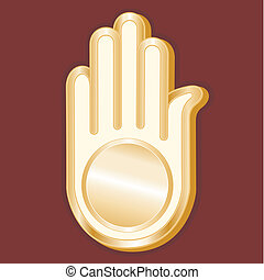 Jain Symbol - Golden Ahimsa symbol of the Jain faith on a...