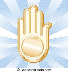 Jain Symbol. Golden Ahimsa