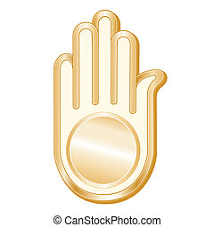 Jain Symbol - Golden Ahimsa symbol of the Jain faith on a...