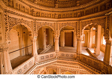jain temple of amar sagar near jaisalmer in rajasthan state...