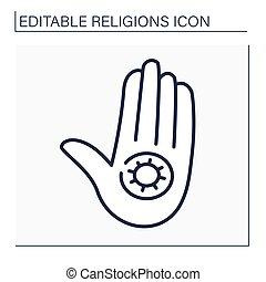 Jainism line icon. Jain Dharma. Indian religious and philosophical teaching. Jain symbol. Religion concept. Isolated vector illustration. Editable stroke