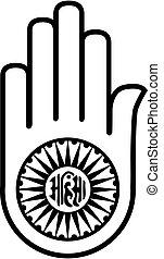 jainism-, símbolo, ahimsa