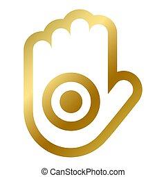 jainism, símbolo, aislado, religioso, señal, mano, ahinsa