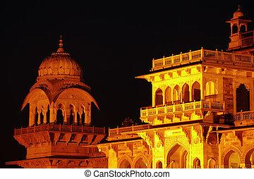jaipur, インド, 博物館, 中央である, 夜