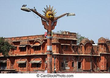 jaipur, ランプ, 通り, インド
