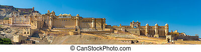 jaipur, 風景, 都市の景観, india., composition., 城砦, 有名, パノラマである, 目的地, こはく色, 旅行, rajasthan, 決断, 高く, 印象的