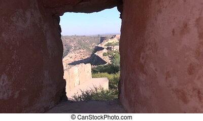 Jaipur city Nahargarh fort defensive wall in Rajasthan,...