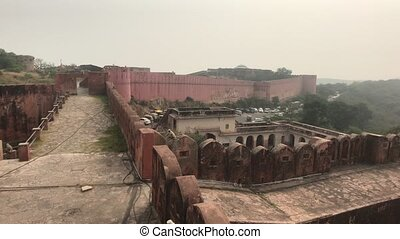Jaipur, India - ancient walls of the fort and view of the mountains from a height part 2
