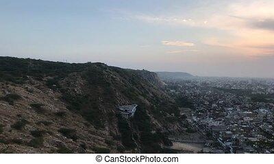 Jaipur, India - Galta Ji, mountain view during sunset part 2