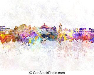 Jaipur skyline in watercolor