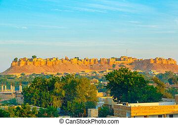 Jaisalmer Fort in sunrise light, Rajasthan, India, Asia