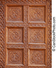 Jaisalmer India. Decoration on wall of old building Traditional stone carving