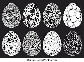 jaja, komplet, abstrakcyjny, wektor, wielkanoc, 3d