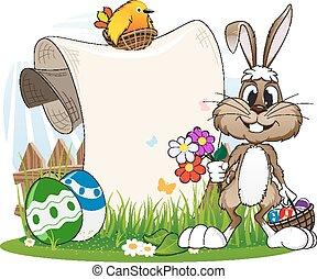 jaja, królik, kwiaty, wielkanoc
