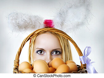 jaja, królik, patrząc, kosz, wielkanoc, na