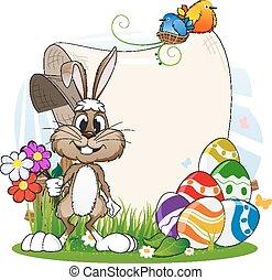 jaja, kwiaty, wielkanocny królik