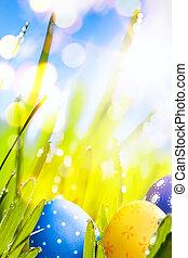 jaja, sztuka, bac, ozdobny, niebo, wielkanoc, błękitny, barwny, trawa
