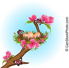 jaja, w, gniazdo, z, flowers.