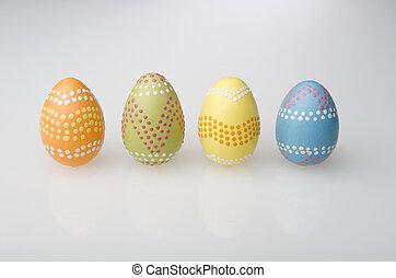 jaja, wielkanoc, barwny, ręka