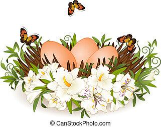 jaja, wielkanoc, flowers., karta