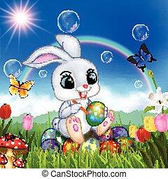 jajko, dekorowanie, wielkanoc, rysunek, królik