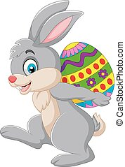 jajko, transport, wielkanoc, rysunek, królik
