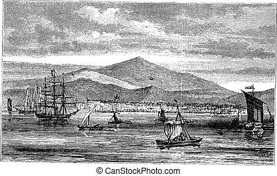 Jakarta (Batavia) in Indonesia, during the 1890s, vintage engraving. Old engraved illustration of Jakarta in the Java islands.