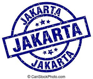 Jakarta blue round grunge stamp