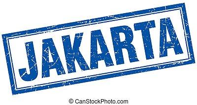 Jakarta blue square grunge stamp on white