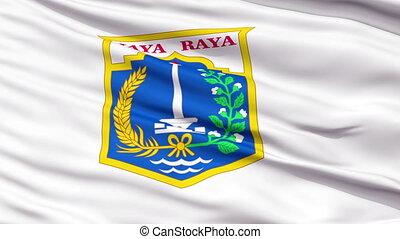 Jakarta City Close Up Waving Flag - Jakarta Capital City...