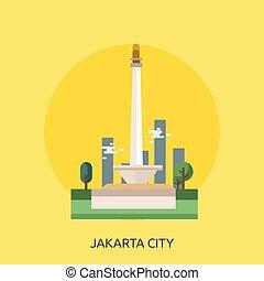 Jakarta City of Indonesia Conceptual illustration Design