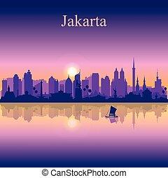 Jakarta city silhouette on sunset background