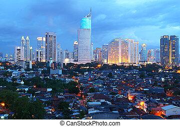 city view at night - jakarta city view at night