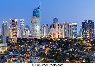 jakarta, en ville, horizon, à, haut-ascension, bâtiments, à, coucher soleil