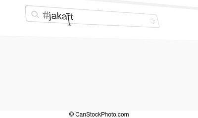 Jakarta hashtag search through social media posts animation