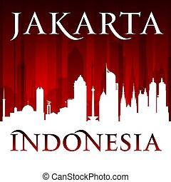 Jakarta Indonesia city skyline silhouette red background