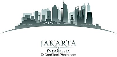 Jakarta Indonesia city skyline silhouette white background...
