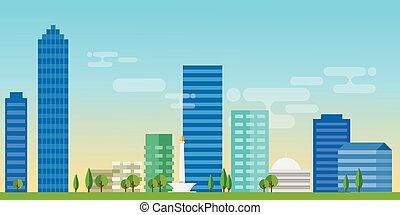 jakarta indonesia city skyline vector illustration landscape architecture capital landmark panoramic