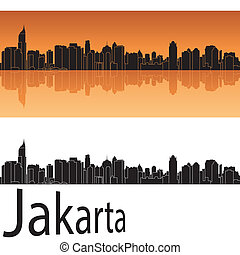 Jakarta skyline in orange background in editable vector file
