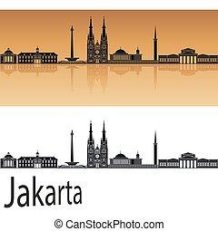 Jakarta skyline in orange