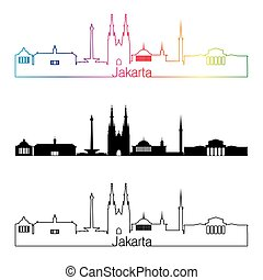 Jakarta skyline linear style with rainbow