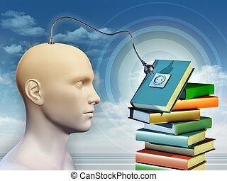 jakiś, książki, pamięć, złączony, ludzki