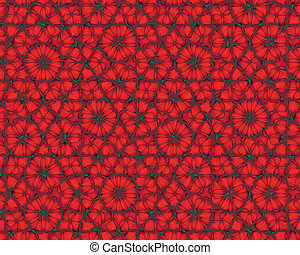 jako, abstraktní, grafické pozadí, květiny, fractal, červeň