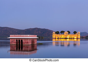 jal, palace)., rajasthan, mahal, jaipur, (water, indie