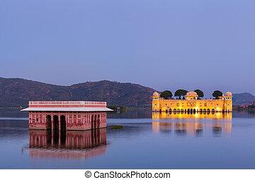 jal, palace)., rajasthan, mahal, jaipur, (water, indien