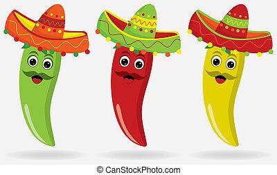 jalapeños, messicano, sombreros!
